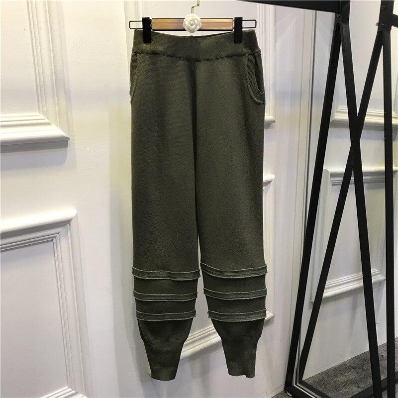 Étoiles De noir Costume En Pantalon Paire 2 Mode Petit Fermeture Lâche Jambe Tricoté Vert Métal Et 2018 Neuf Éclair Chandail Veste Pièces 4RSc3Aj5Lq