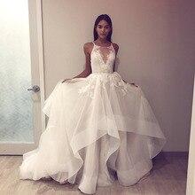 Eslieb A melhor qualidade vestido de noiva Com Decote Em V 2019 Belos vestidos de casamento UMA Linha de Vestidos de Noiva China vestido De Noiva Guangzhou