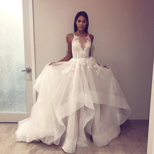 Eslieb En İyi kalite V Yaka düğün elbisesi 2019 Güzel düğün elbisesi es Bir Çizgi gelin elbiseleri Çin düğün elbisesi Guangzhou