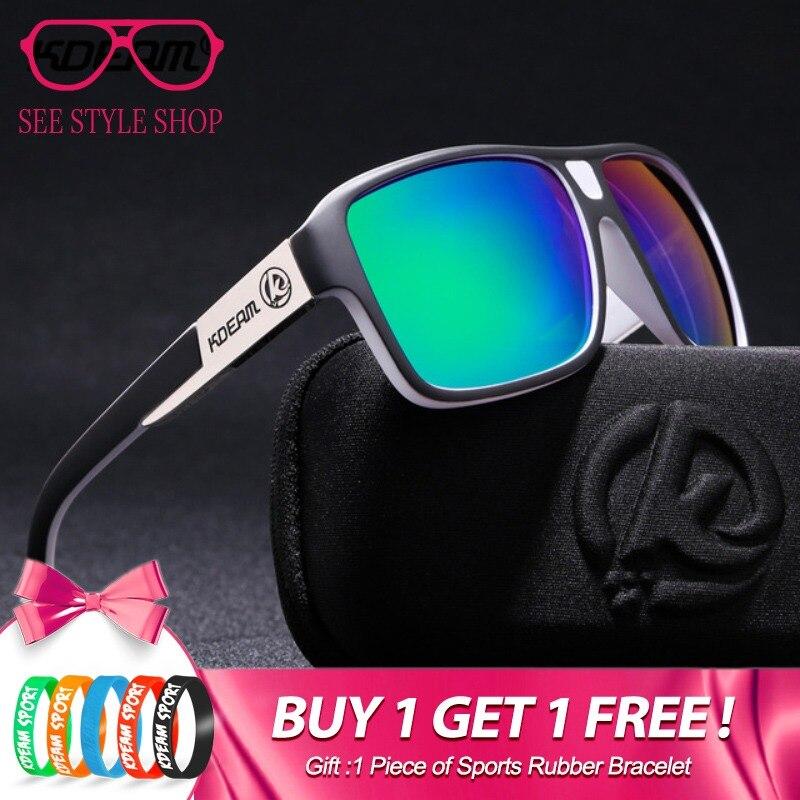 2212ea1be4 KDEAM nuevo espejo gafas de sol hombre gafas deportivas mujeres polarizado  de gran tamaño gafas de