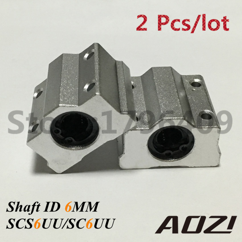 цены  2 Pcs/lot SCS6UU ID 6MM Linear Ball Bearing Block For 6mm Linear Guide Rod Round Shaft SC6UU Slide Block