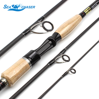 2.1M 2.4M 2.7M Carbon wooden handle 4 Sections lure rod M Power 12 25lb Lure 10 25g Ultra light Fishing Rod Travel Rod