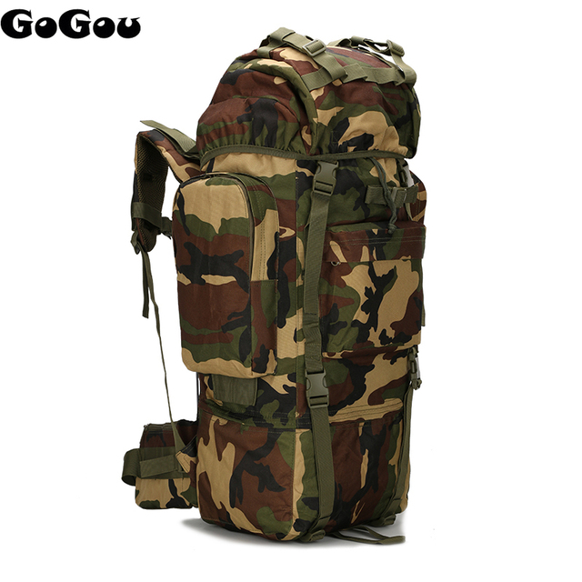 65l 800d camo military rucksack large capacity internal frame tactical backpack camping molle bag - Military Rucksack With Frame