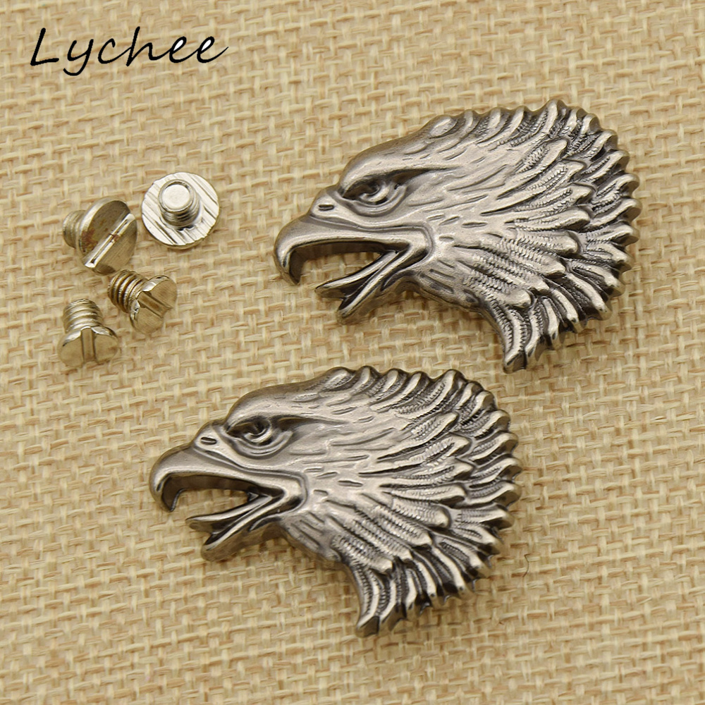 Lychee 2pcs Leather Craft Animal Eagle Owl Head Metal Conchos Back For DIY Making Craft Women Clothes Purse Buttons