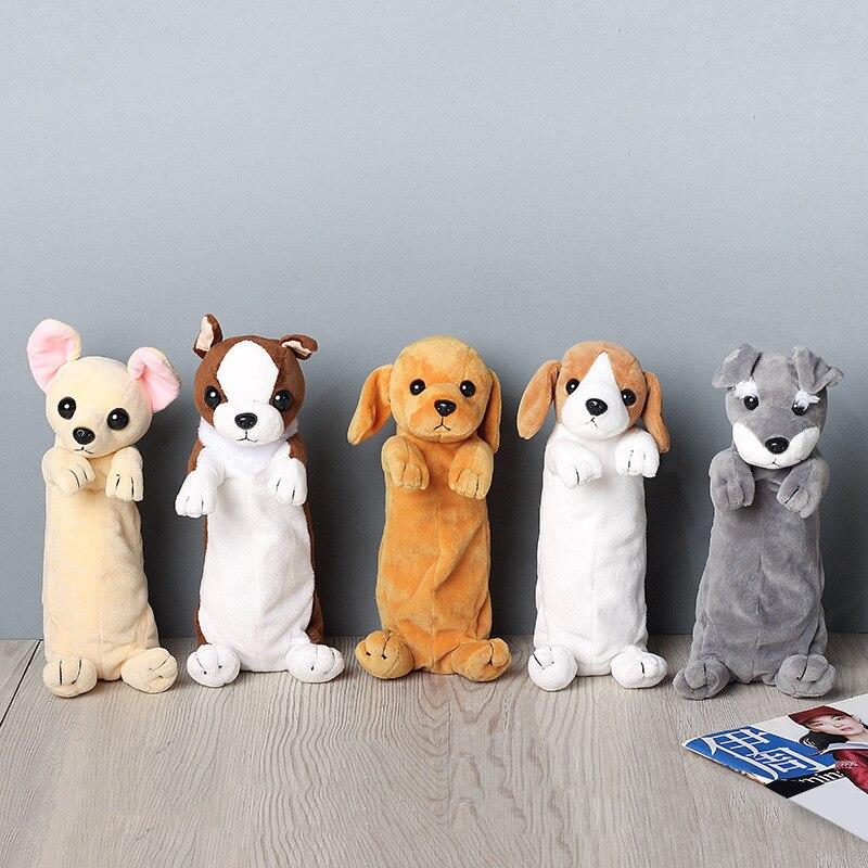 Cute School Students Bag Kawaii Kids Plush Pen Bag Box Cartoon Animals Dog Stationery Bag For Children Girls Boys