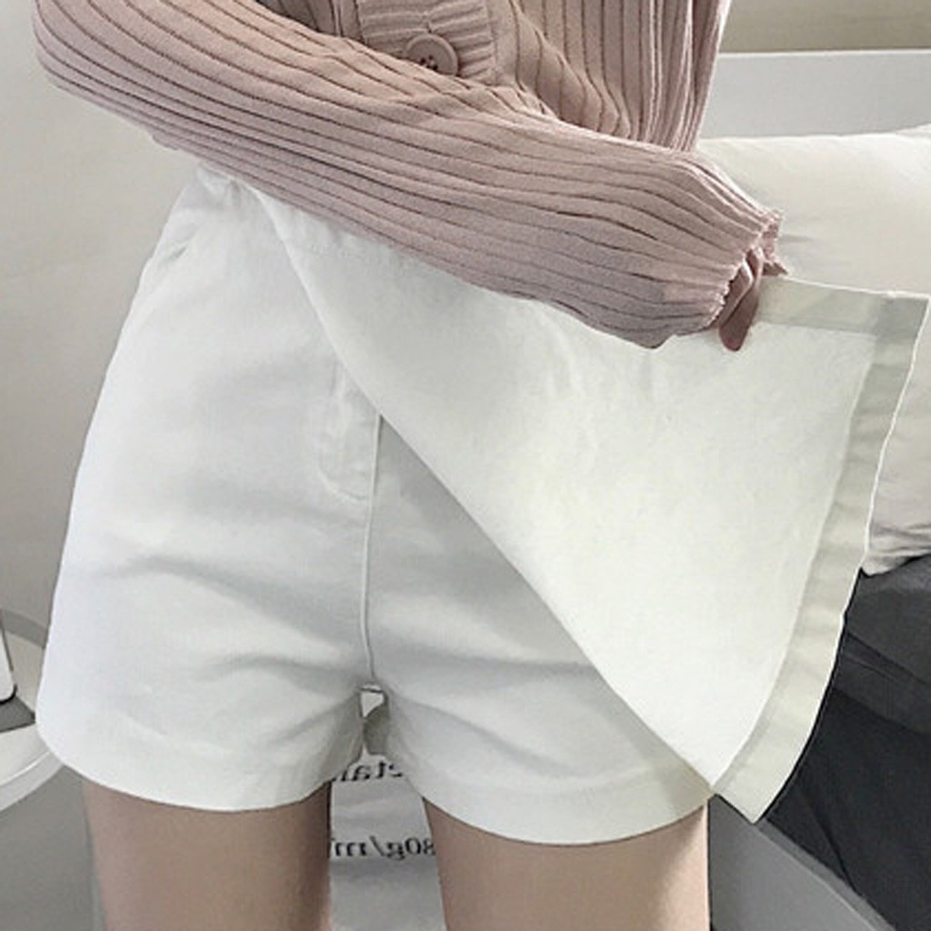 2020 Super white Jeans Women Summer Leisure Shorts culottes High Waist Pure Color Shorts Vintage Womens Pants  dropshipping