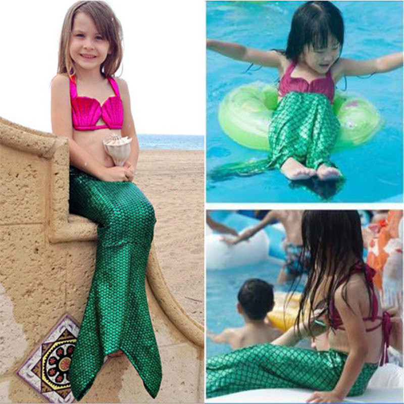3PCS Tjej Barn Mermaid Tail Swimmable Bikini Set Baddräkt Fancy - Barnkläder - Foto 2