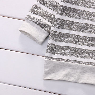 Gray cotton Newborn Baby Girls Clothes Striped Tshirt Tops Pants Leggings hat Outfit 3PCS Baby Clothing Set for infant kid boy 3
