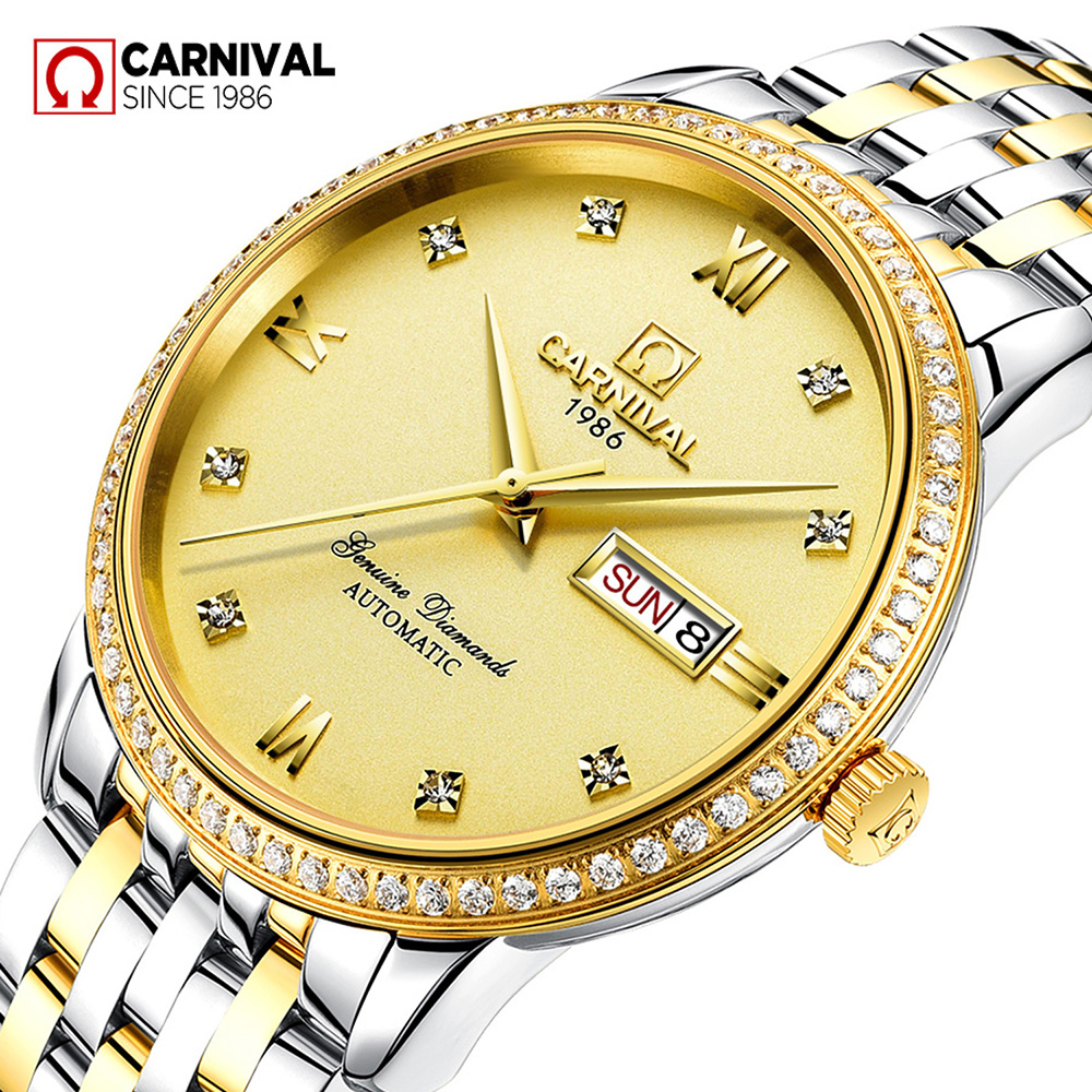 Carnival Watch Men Automatic Mechanical Luminous Stainless Steel Waterproof Week Date Gold Watches carnival green tritium watch men automatic mechanical luminous silver stainless steel waterproof date week watches