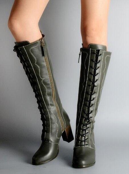 Top nouveau hiver femme vert/bordeaux bout rond en cuir véritable fermeture à lacets talons rugueux genou haut cuir chevalier bottes longues