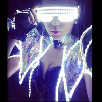 Cool Night Club Bars Stage Dancewear Sunglasses LED Luminous Flashing Party Glasses For Bar DJ Christmas Halloween Free Shipping