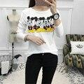 2016 outono impressão dos desenhos animados 4 Mickey Mouse mulheres tshirt longo da luva camisa engraçada de t de algodão t-shirt das mulheres tops casual camiseta femme
