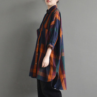 Celmia Autumn Office Ladies Check Plaid Long Shirts Full Sleeve Turn Down Collar Button Open Blouse