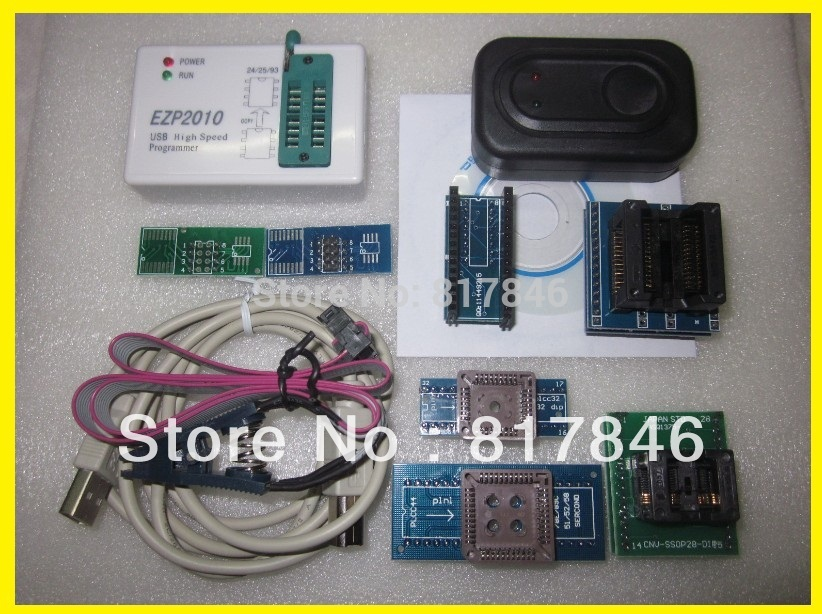 Free shipping EZP2010 Programmer High-Speed USB SPI Programmer support 24 25 93 EEPROM flash bios chip+SOIC8 Clip+7Adapater programmer testing clip sop8 sop soic 8 soic8 dip8 dip 8 pin bios 24 25 93 flash chip ic socket adpter test clamp