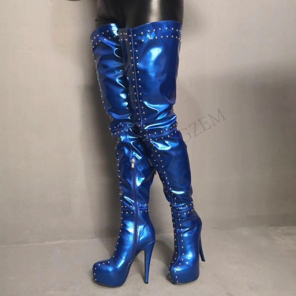 LAIGZEM อินเทรนด์ผู้หญิง Over the เข่ารองเท้าบูทแพลตฟอร์ม Studded Party รองเท้าส้นสูงสีดำ Burgundy รองเท้า Botines Mujer ขนาดใหญ่ขนาด 4 19-ใน รองเท้าบู๊ทเหนือเข่า จาก รองเท้า บน   1