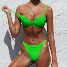 Neon Thong Swimsuit Women Brazilian Sexy Bikini Teeny Triangle top Set Bottom 2 Pieces Swimwear with Small