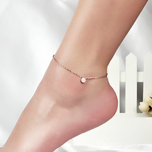 Top Quality 18KGP Rose Titanium Steel Frosted Bean Anklet Women's Fashion Brand Jewelry Free Shipping (GA003)