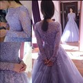 Lavanda romántica Una Línea Vestido de Novia de Encaje de Manga Larga Apliques de Lentejuelas Rebordear Por Encargo de La Novia vestido de Novia vestido de noiva