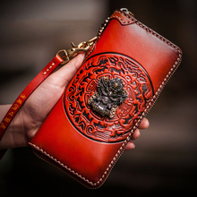 Mystery Tibet Avatar Three-dimensional relief Handmade Genuine Leather mens wallet Long zipper embossed women wallets and hand