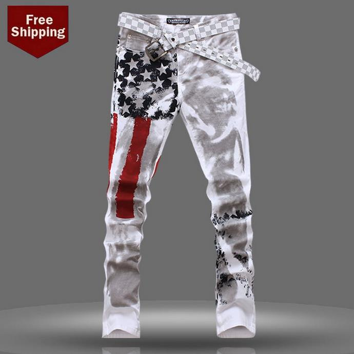 ФОТО Autumn fashion england famous brand national flag printed jeans men pant denim trousers high quality male straight personalized