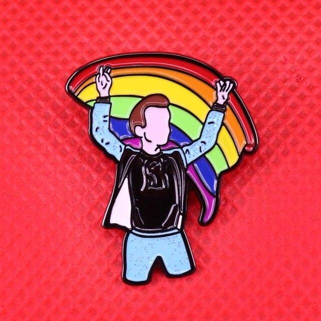 Гарри Стиль Радуга флаг эмаль булавки брошь с блестками гей знак ЛГБТ jewelry для женщин подарок Пастель книги по искусству шпильки для мужчин рубашк