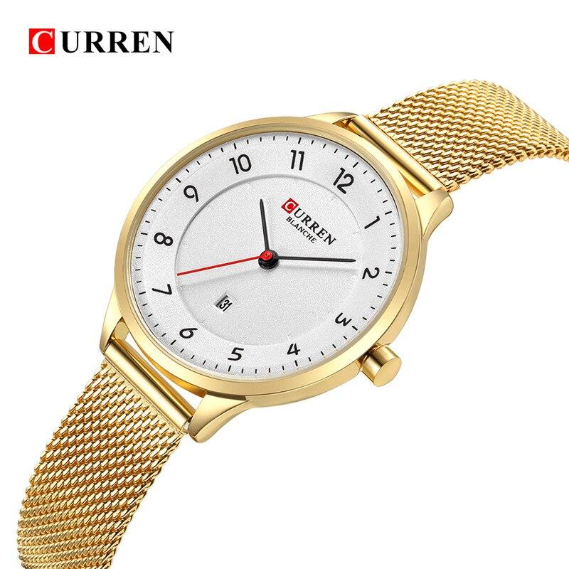 Curren Fashion women's watches Stainless Steel Gold watch women Curren Hot Selling Ladies Watch Quartz women watches 9035B цены онлайн
