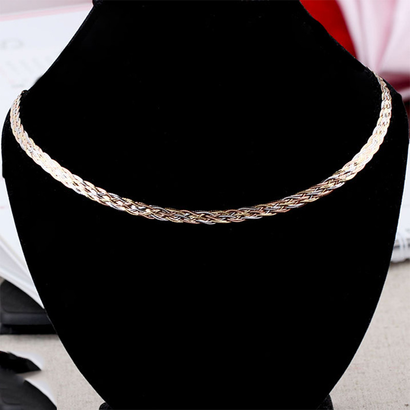 Image 5 - Necklace For Women Men Unisex 18K Pure Gold Weaving Chain Flat wide chain Knitted Chains Necklace Choker Vintage Collares Mujer-in Necklaces from Jewelry & Accessories