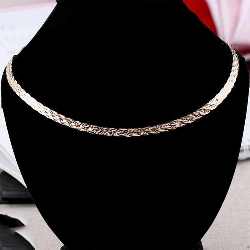Necklace For Women Men Unisex 18K Pure Gold Weaving Chain Flat wide chain Knitted Chains Necklace Choker Vintage Collares Mujer