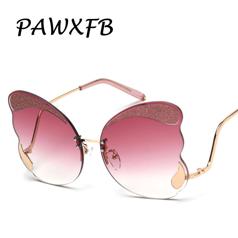 PAWXFB 2019 Newest Butterfly Sunglasses Women New Fashion High Quality Brand Designer Rimless Ladies Oculos de sol
