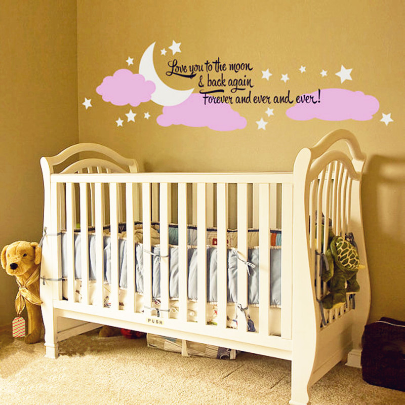 2016 New Design Baby Bedroom Wall Decor Vinyl Sticker Moon Stars And ...