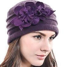 bc4b4228b59 HISSHE Lady Winter Wool Beret Church Dress Bucket Hat Fashion Female Floral  Solid Soft Felt Hats