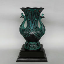 NEWEST Chinese Antique Imitation Bronze ornaments Fitting Cfafts Retro Siamese Peacock Vase  Living Room Home Decoration
