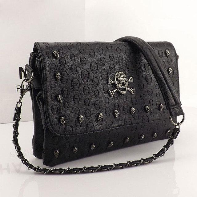 2016 Vintage Fashion Skull Women Messenger Bags Rivet Envelope Mini Clutch Bags Envelope Crossbody Punk Shoulder Bag Sac A Main