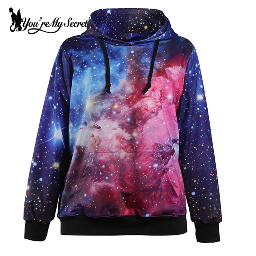 [You're My Secret] Fashion Blue Galaxy Sky Digital Print Women Hooded Sweatshirt Long-Sleeve O-Neck Sudaderas