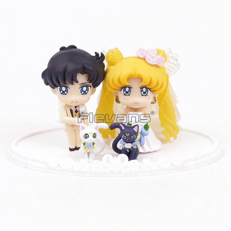 Sailor Moon Pretty Guardian Happy Wedding Chiba Mamoru Tsukino Usagi Serenity Artemis Luna PVC Figures Toys 4pcs/set moon flac jeans