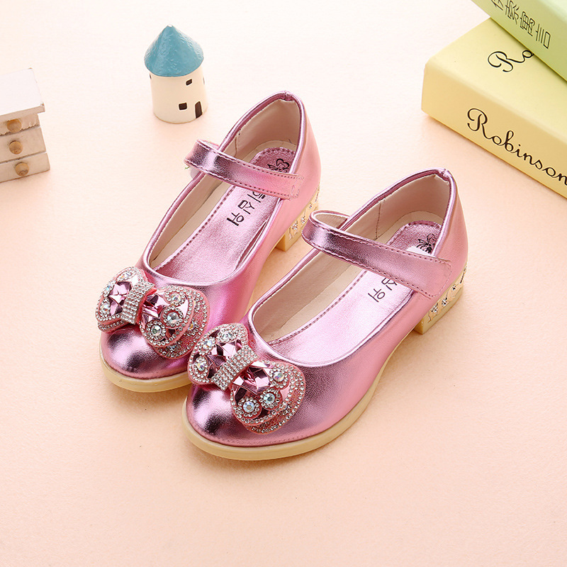 Spring-new-girls-Party-high-heeled-wedding-Leather-shoes-diamond-princess-bow-dance-shoes-Pink-gold-size-26-36-for-big-girls-4