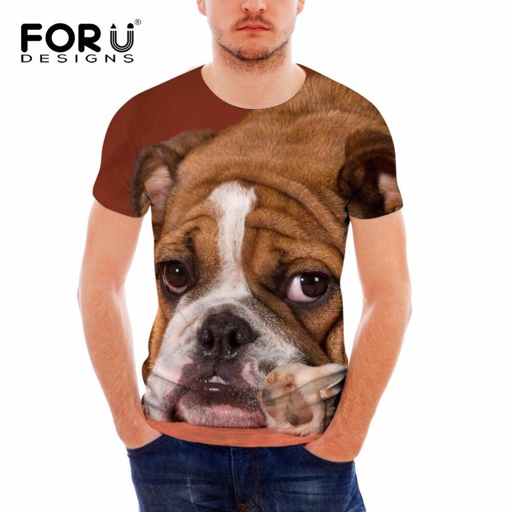 FORUDESIGNS 3D Animal Dog Printing T Shirt Men Short Sleeve Summer Tops Teeanagers Casual Fresh Bulldog Pattern Couple Tee Shirt