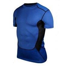 Высокое качество мужские компрессионные эластичные под базовый слой топ облегающие футболки с коротким рукавом спортивная коллекция