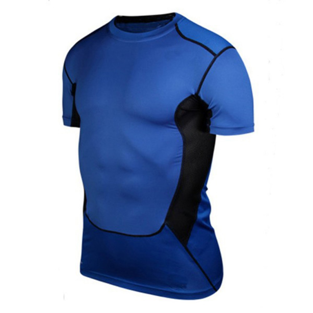 Spor ve Eğlence'ten Avcılık Baz Katmanlar'de 2019 yüksek kaliteli erkek sıkıştırma elastik altında taban katmanı üst sıkı kısa kollu tişört spor koleksiyonu title=