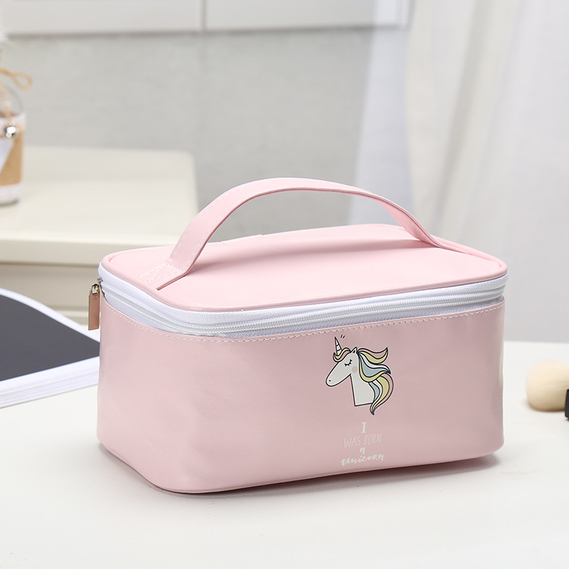 Image 5 - Fashion Cute Pink Blue Unicorn Design Girls Fresh Style Earphone Data Line Jewelry Coins Candy Cosmetics Travel Storage Bag-in Storage Bags from Home & Garden