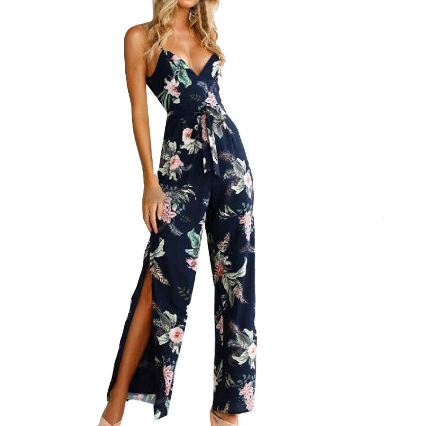 Summer Style Ladies Boho Floral Printed Long Jumpsuit Women Elegant V-Neck Sleeveless Casual Rompers Sexy One Piece Outfits #JO