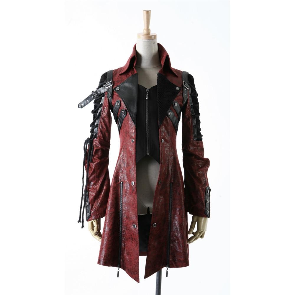 Панк рейв гот женские искусственная кожа рок шипованных хлопковая куртка пальто Streampunk hoodielot S 3XL Y349