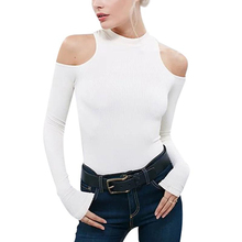 2017 irregular Knitted Crew Neck Hollow Out Off Shoulder Long Sleeve Tshirt Women T Shirt Tee Knitwear Pullover Tops