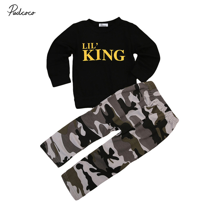 Newborn Toddler Kids Baby Boy Clothes Set Long Sleeve Letter Black T Shirt Top Camouflage Pants Autumn Winter Outfits 2PCs 2pcs newborn baby boys clothes set gold letter mamas boy outfit t shirt pants kids autumn long sleeve tops baby boy clothes set