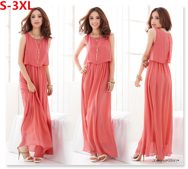 6cea9c3486c8 Vestidos Plus Size Woman Clothing XL XXL XXXL Dress Summer 2014 Long  Bohemian Pleated Chiffon Women Maxi Dresses High Quality