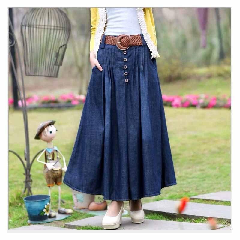 S-6XL Big Size Long Jean Skirts Womens Denim Skirts Girls Bohemia Pleated Jupe Blue Saia Longa Female Maxi Skirt Elastic Waist