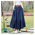 S-4XL Big Size Long Jean Skirts Womens denim skirts Girls Bohemia Pleated jupe blue saia longa Female maxi skirt Elastic waist
