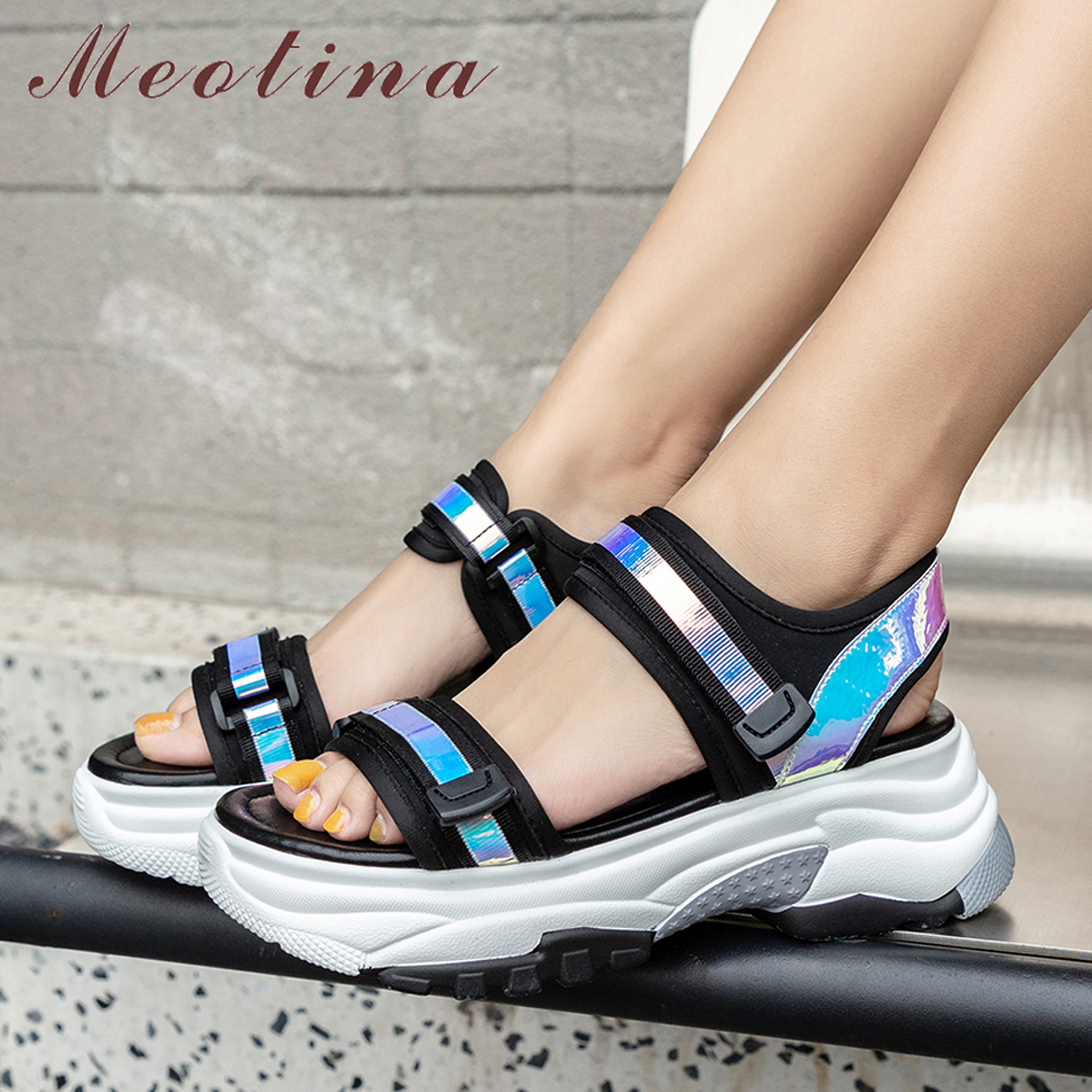 Meotina Summer Shoes Women Sandals Sneakers Bling Flat Platform Shoes Casual Open Toe Sandals Female Footwear White Size 35 39