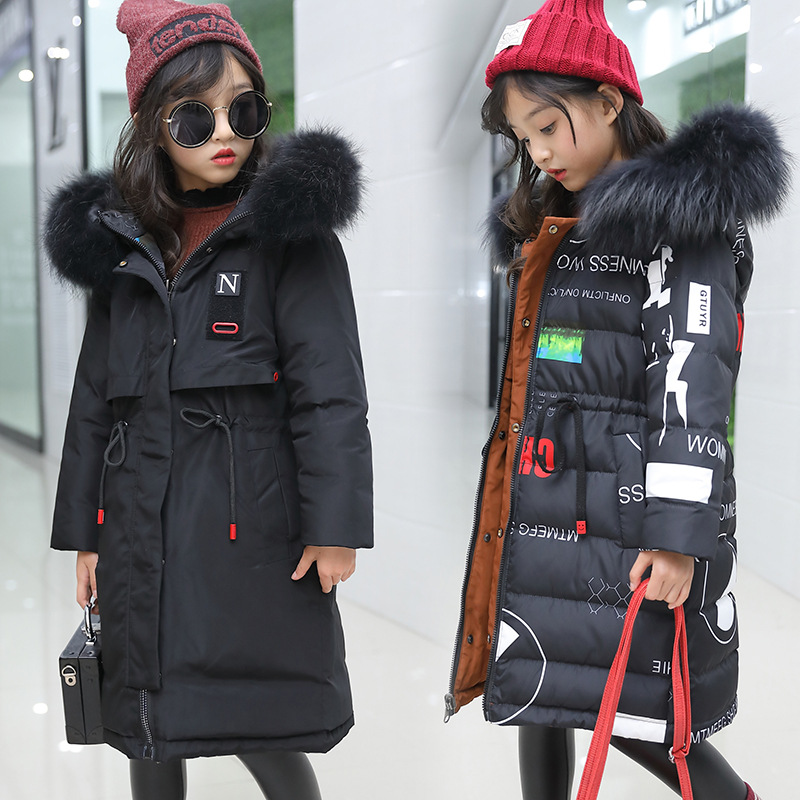 2018 Children Girls Long Down Jacket Kids Warm Thicken Winter Outwear Coat Girl Winter Parka Teenage Long Winter Jacket 120-160 2018 fashion combat boots men winter footwear martin military desert boots men s ankle boots snow shoe work plus size
