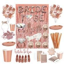 Chicinlife Diadema con globos de papel de aluminio para novia, Tiara para decoración de despedida de soltera, suministros para fiesta de boda, oro rosa